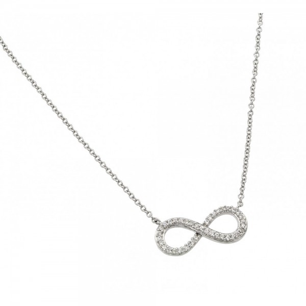 Sterling Silver Clear CZ Infinity Pendant Necklace SSTP01381RH