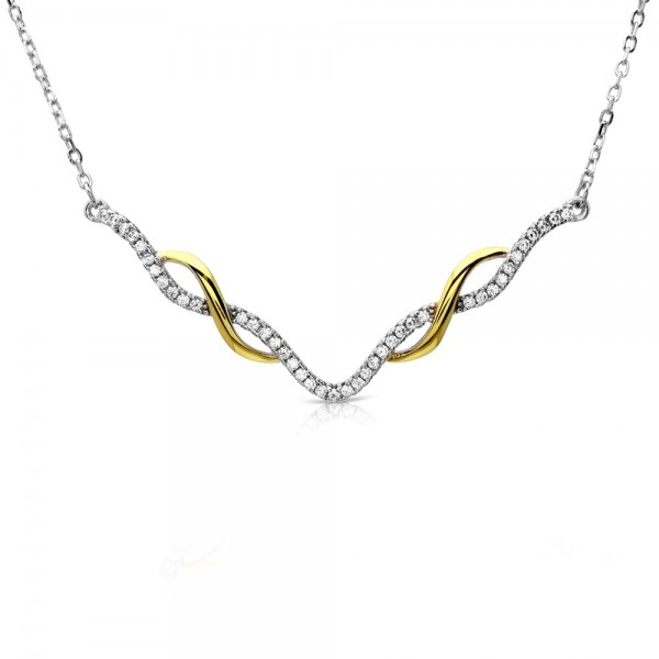 Sterling Silver Interlinked V-Shape Necklace SBGP01172