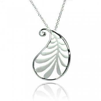 Sterling Silver Leaf Pendant Necklace SSTP01369