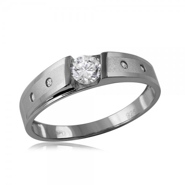 Sterling Silver Matte Finish Men's Wedding Ring SGMR00115RH