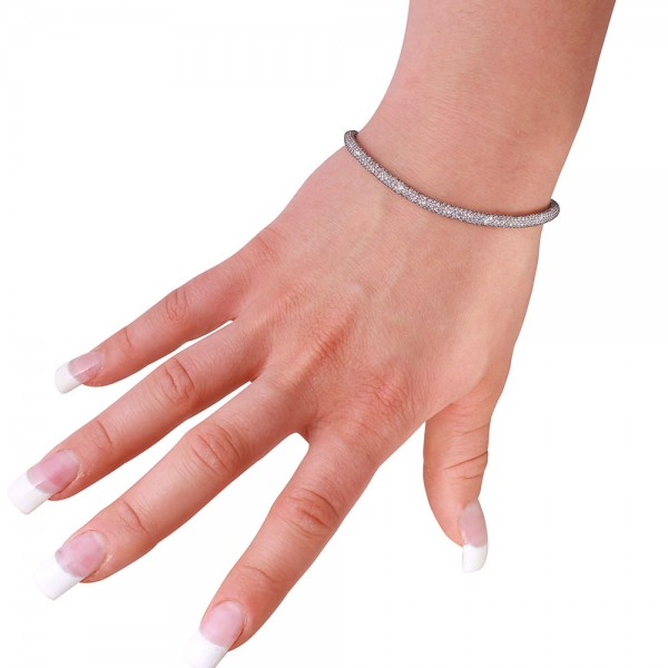 Sterling Silver CZ Embedded Mesh Bracelet SECB00046BL