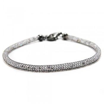 Sterling Silver CZ Embedded Black Mesh Bracelet SECB00046BL