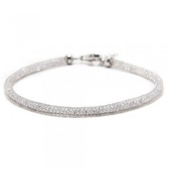 Sterling Silver CZ Embedded Mesh Bracelet SECB00046RH
