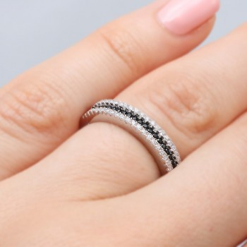 Sterling Silver Black Micro Pave Band SACR00059