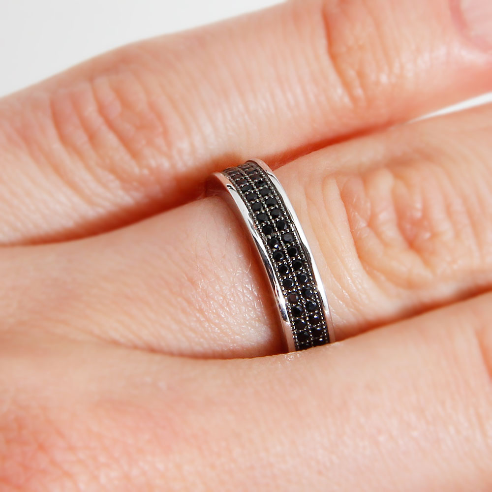 Sterling Silver Black Micro Pave Ring SACR00052
