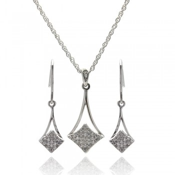 Sterling Silver Micro Pave CZ Dangling Earring and Necklace Set SSTS00409
