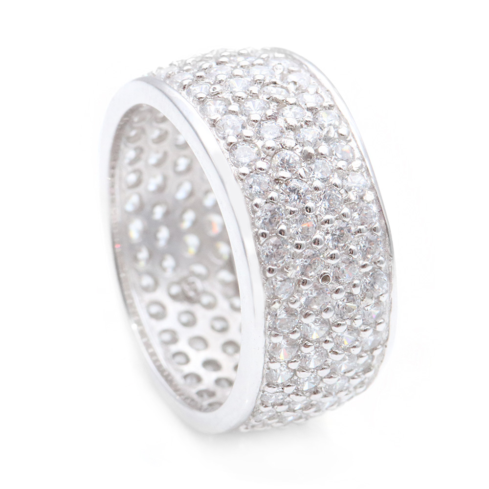 Sterling Silver Micro Pave CZ Band SSTR00256