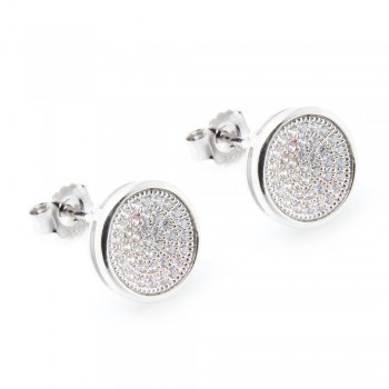 Sterling Silver Micro Pave Circle Stud Earrings SACE00047
