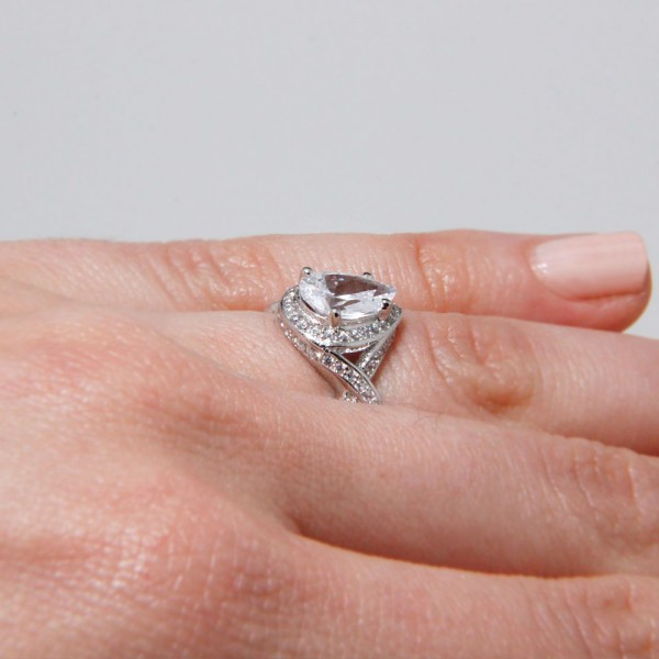 Sterling Silver Pear Shaped Engagement Ring SACR00010