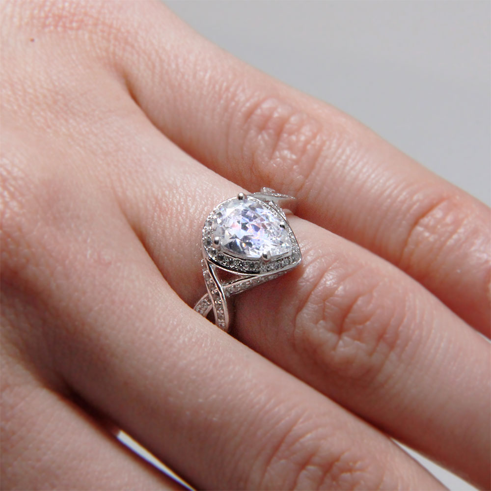 Sterling Silver Pear Shaped Rings