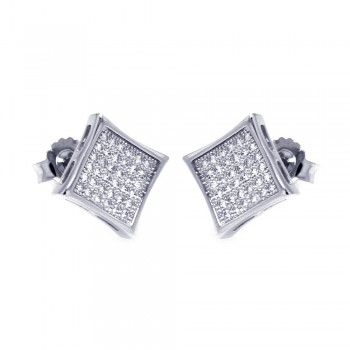 Sterling Silver Micro Pave Square Stud Earrings SACE00043