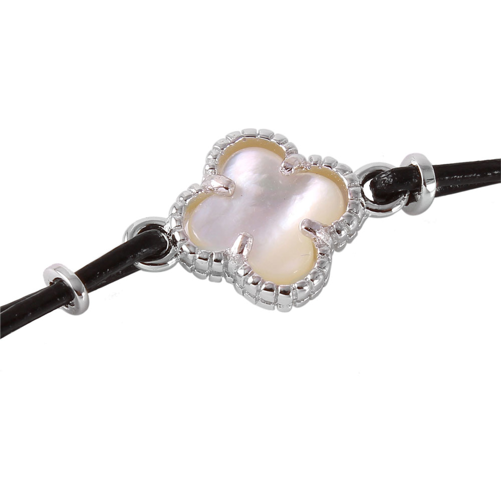Sterling Silver Mother of Pearl Clover Leather Strap Bracelet SBGB00155