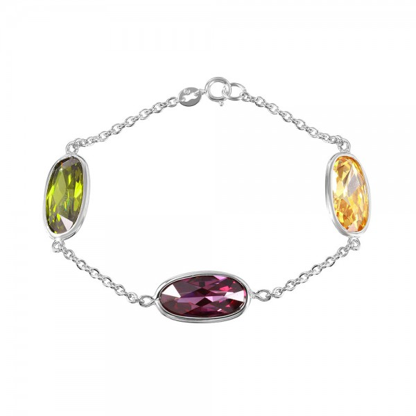 Sterling Silver Multi Color Oval Link Bracelet SBGB00261