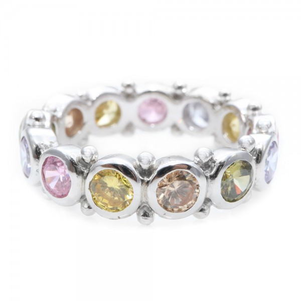 Sterling Silver Multi Colored Eternity Ring SAAR0041