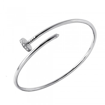 Sterling Silver Nail Cuff Bracelet With CZ Accents SBGB00241
