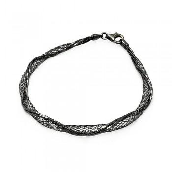 Sterling Silver Black Net Wrap Bracelet SITB00111BLK