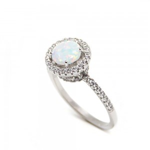 Sterling Silver Opal Halo Ring SBGR01028