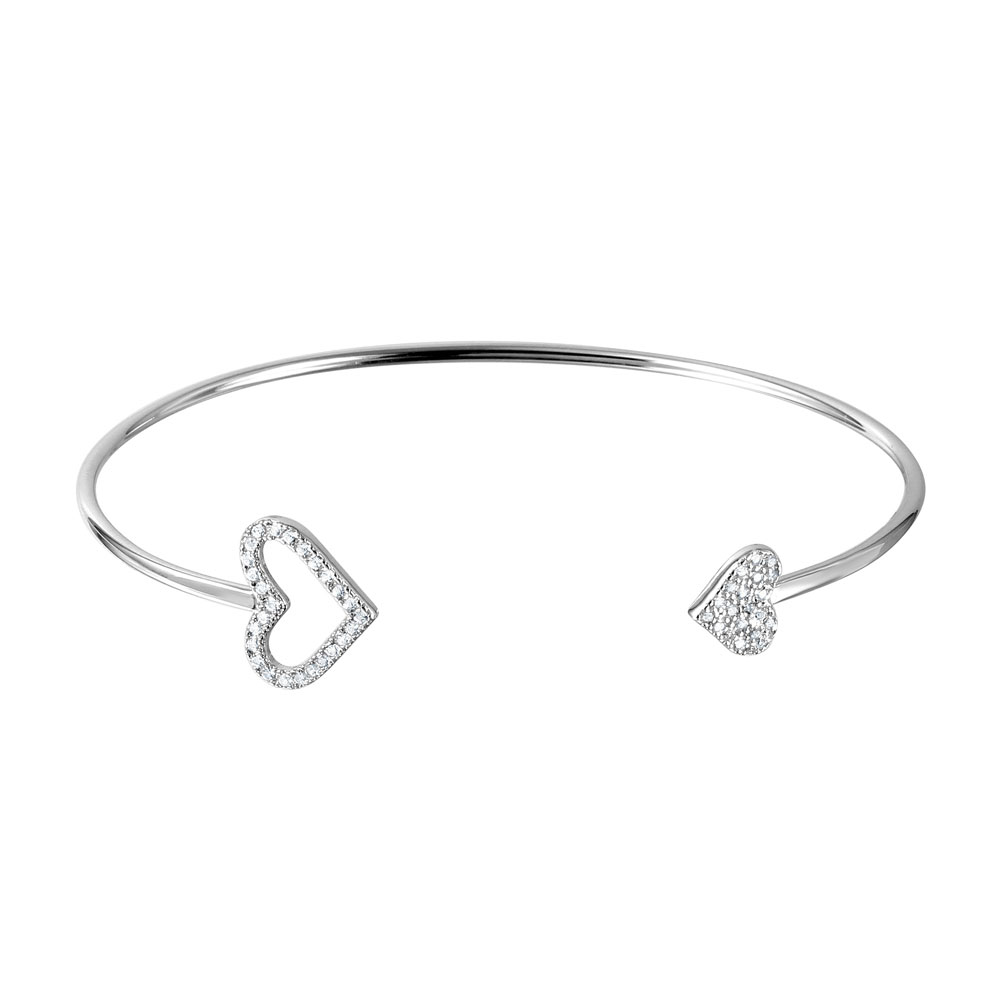 Sterling Silver Open Heart Cuff Bracelet SBGB00255
