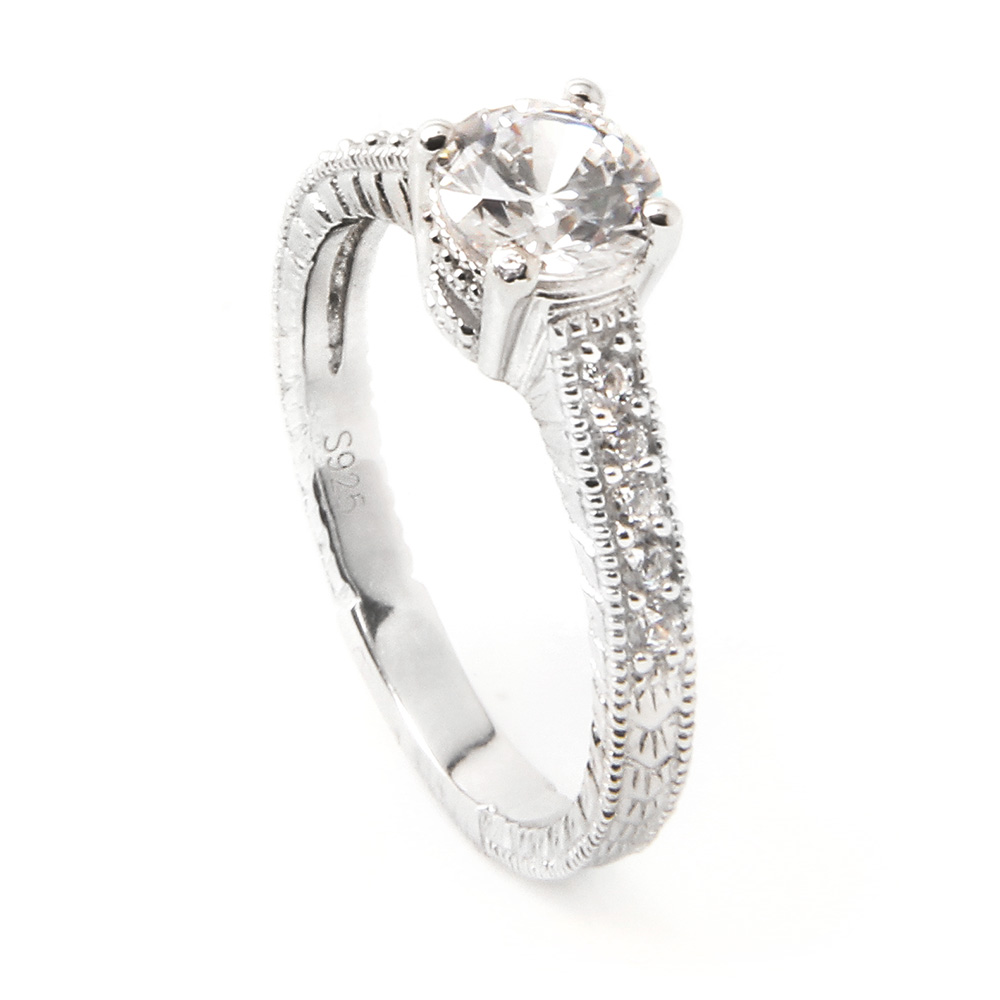 Sterling Silver Round Engagement Ring SACR00016
