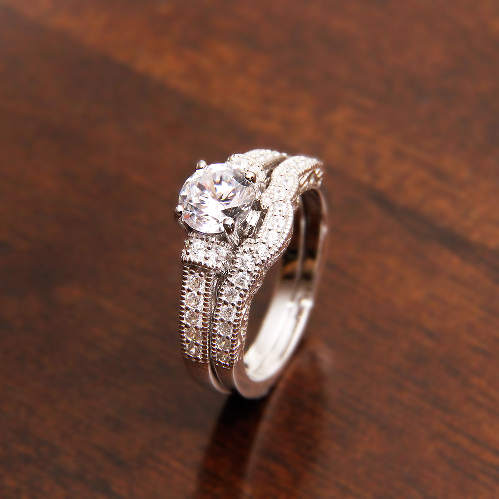 Sterling Silver Pave Round CZ Engagement Ring Set SACR00024