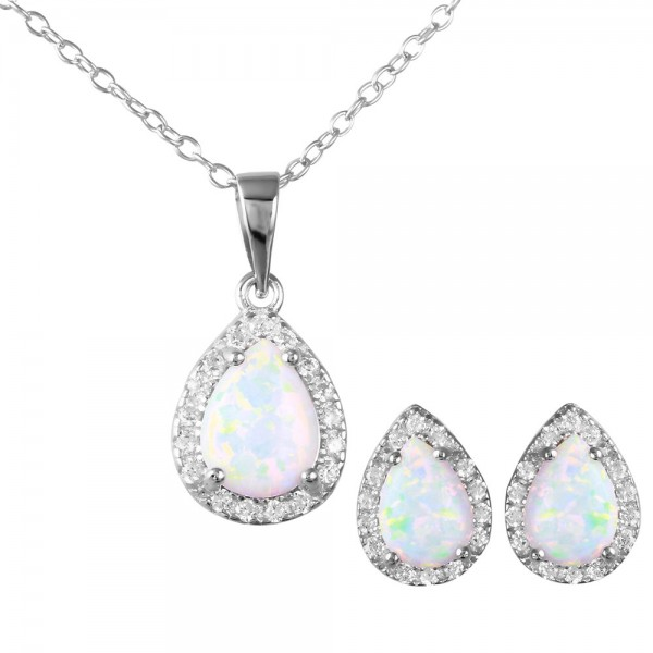 Sterling Silver Pear Opal Earring Necklace Set SBGS00471