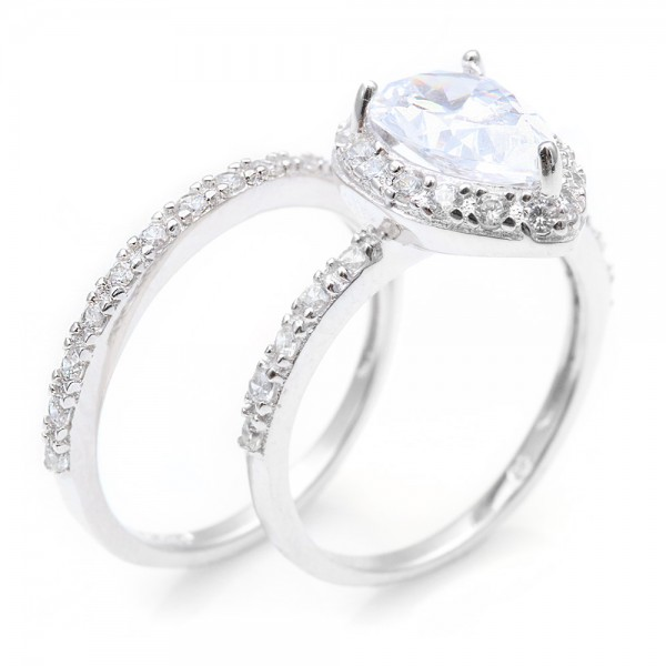 Sterling Silver Pear Engagement Ring Set SBGR00530