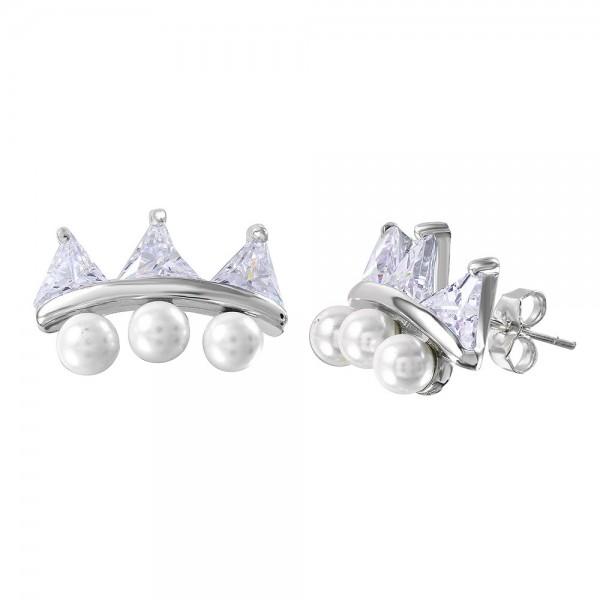 Sterling Silver Pearl Climber Earrings SBGE00469