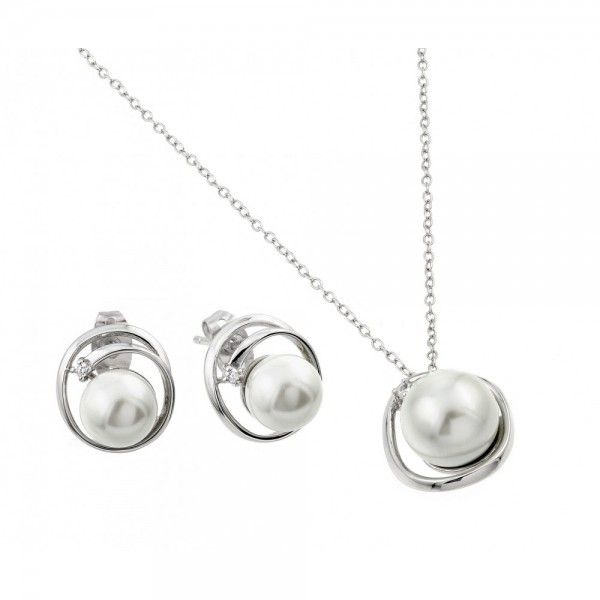 Sterling Silver Pearl Stud Earring and Necklace Set SBGS00447