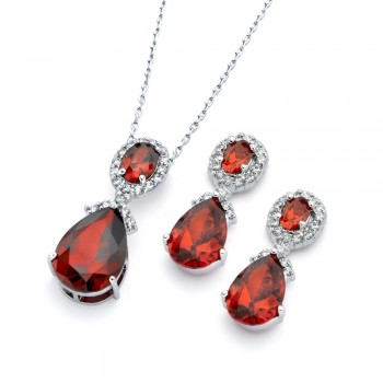 Sterling Silver Red Teardrop Earring and Necklace Set SBGS00299