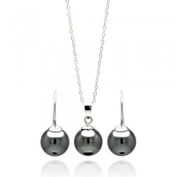 Sterling Silver Rhodium Plated Black Pearl Earring and Necklace Set SSTS00460