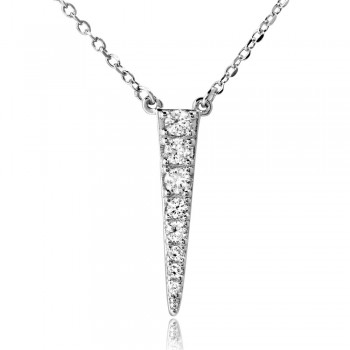 Sterling Silver Rhodium Plated Dropped Ice Pick Necklace SBGP01182