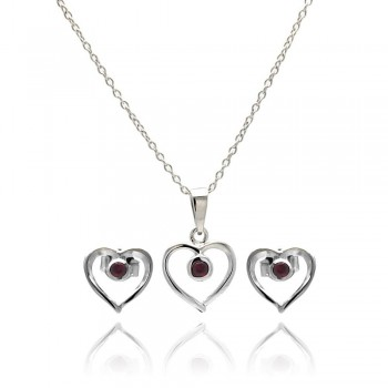 Sterling Silver Rhodium Plated Open Red Heart Stud Earring and Necklace Set SSTS00416