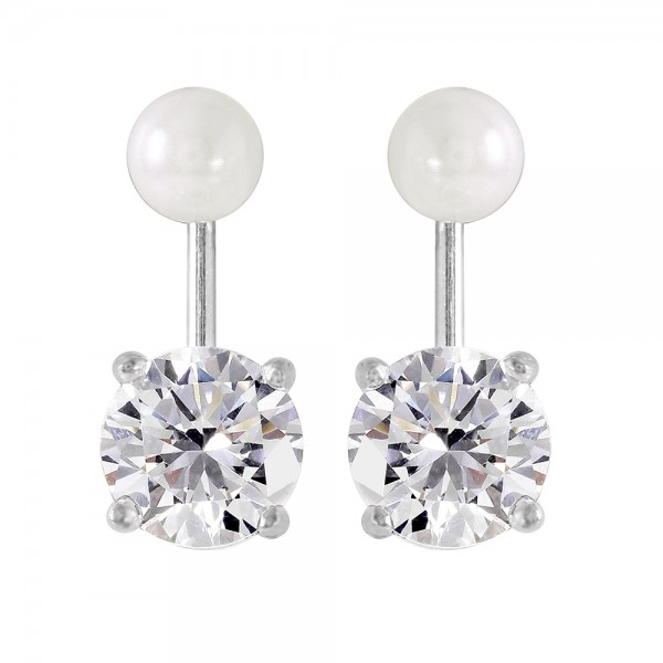 Sterling Silver Pearl CZ Jacket Earrings SSTE00990