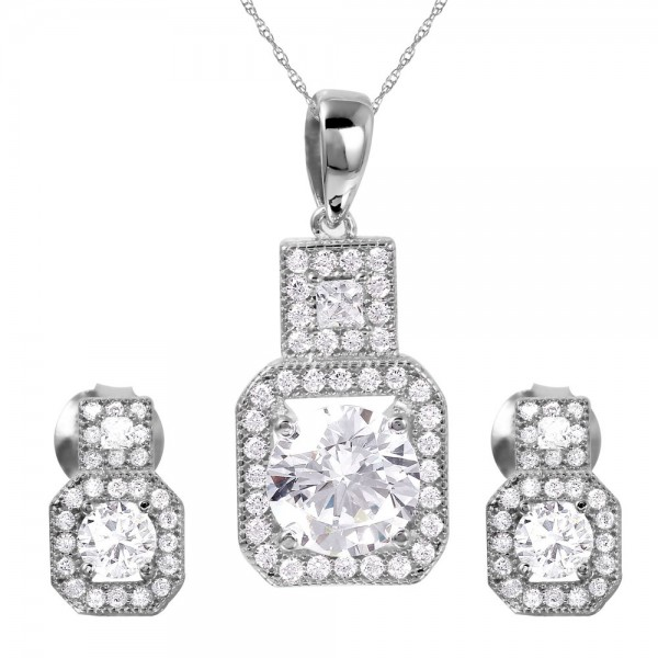 Sterling Silver Rhodium Plated Square CZ Earring and Necklace Set SGMS00019RH