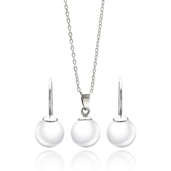 Sterling Silver Rhodium Plated White Pearl Earring and Necklace Set SSTS00435