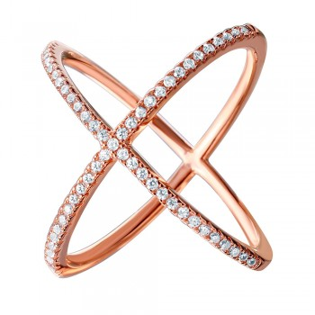 Sterling Silver Rose Gold Criss Cross Ring SGMR00039RGP