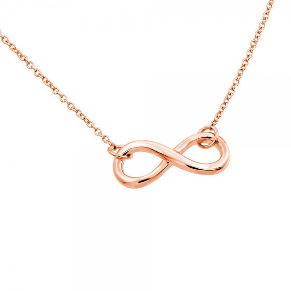 Sterling Silver Rose Gold Infinity Pendant Necklace SSTP01373RGP