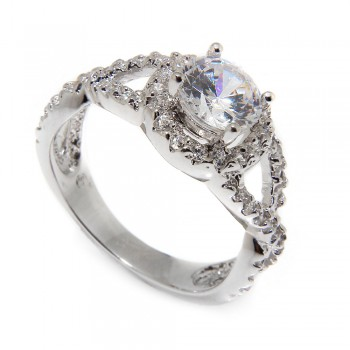 Sterling Silver Round Shaped Engagement Ring SBGR00404