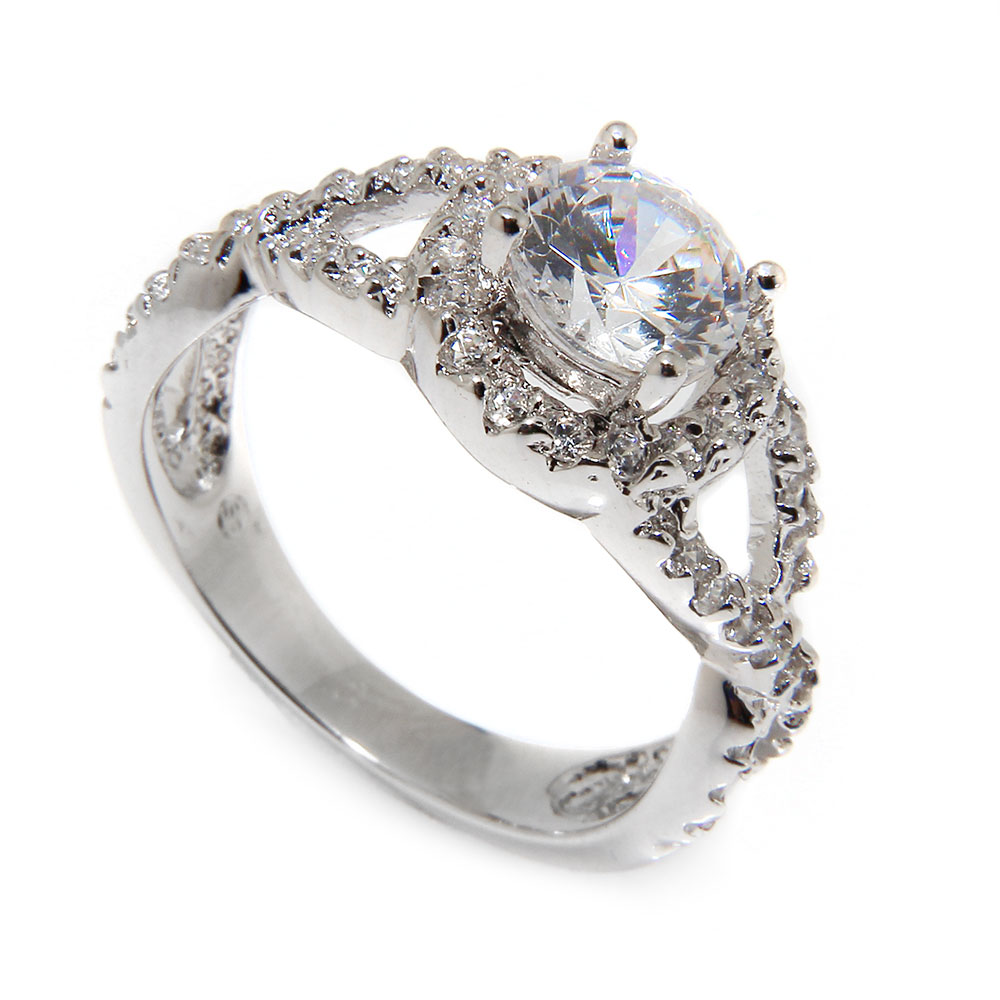 rings accent halo engagement stones crossover plated size products ring silver sterling cz