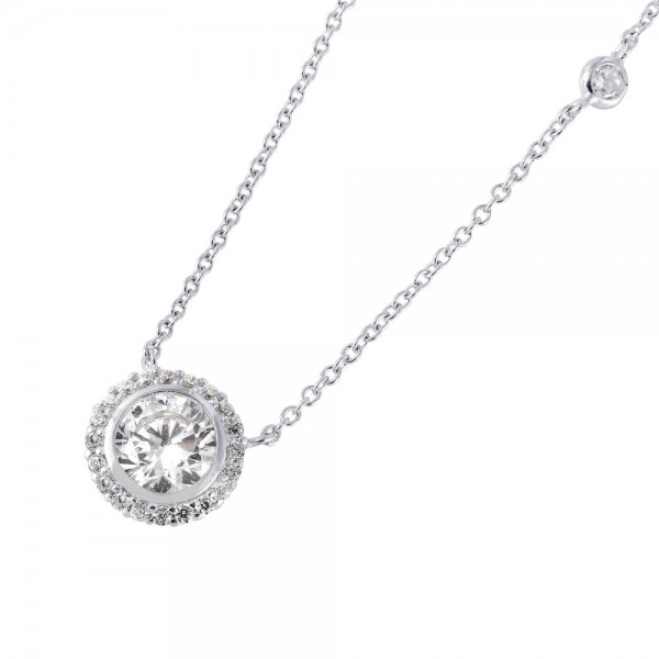 Sterling Silver Round Cluster CZ Pendant Necklace SSTP01423