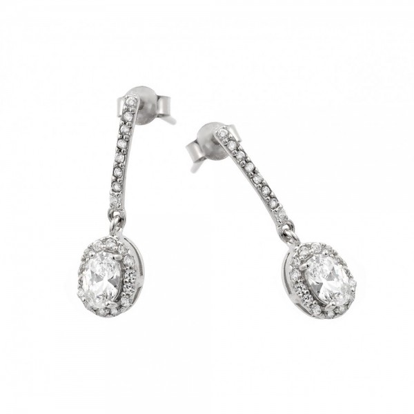 Sterling Silver Round CZ Drop Earrings SBGE00380