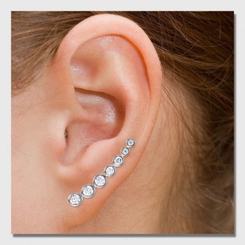 Sterling Silver Round CZ Ear Climber Earrings SSTE01065