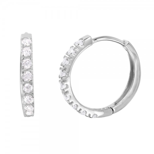 Sterling Silver Round CZ Hoop Earrings SGME00032R