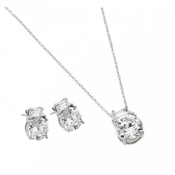 Sterling Silver Round CZ Stud Earring and Necklace Set SSTS00256