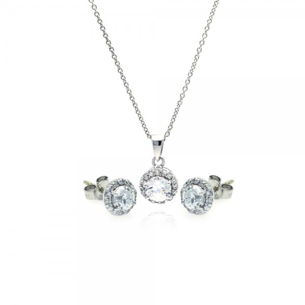 Sterling Silver Round Stud Earring and Necklace Set SSTS00359
