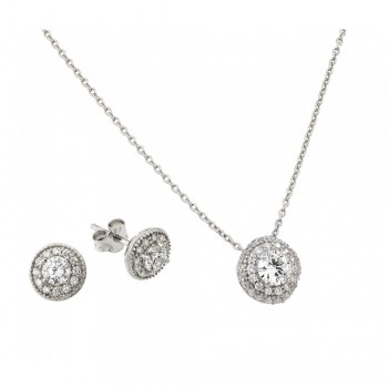 Sterling Silver Round Micro Pave CZ Stud Earring and Necklace Set SSTS00484