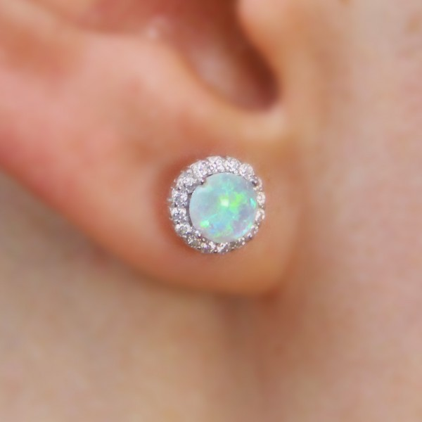 Sterling Silver Round CZ Opal Stud Earrings SSTE00963