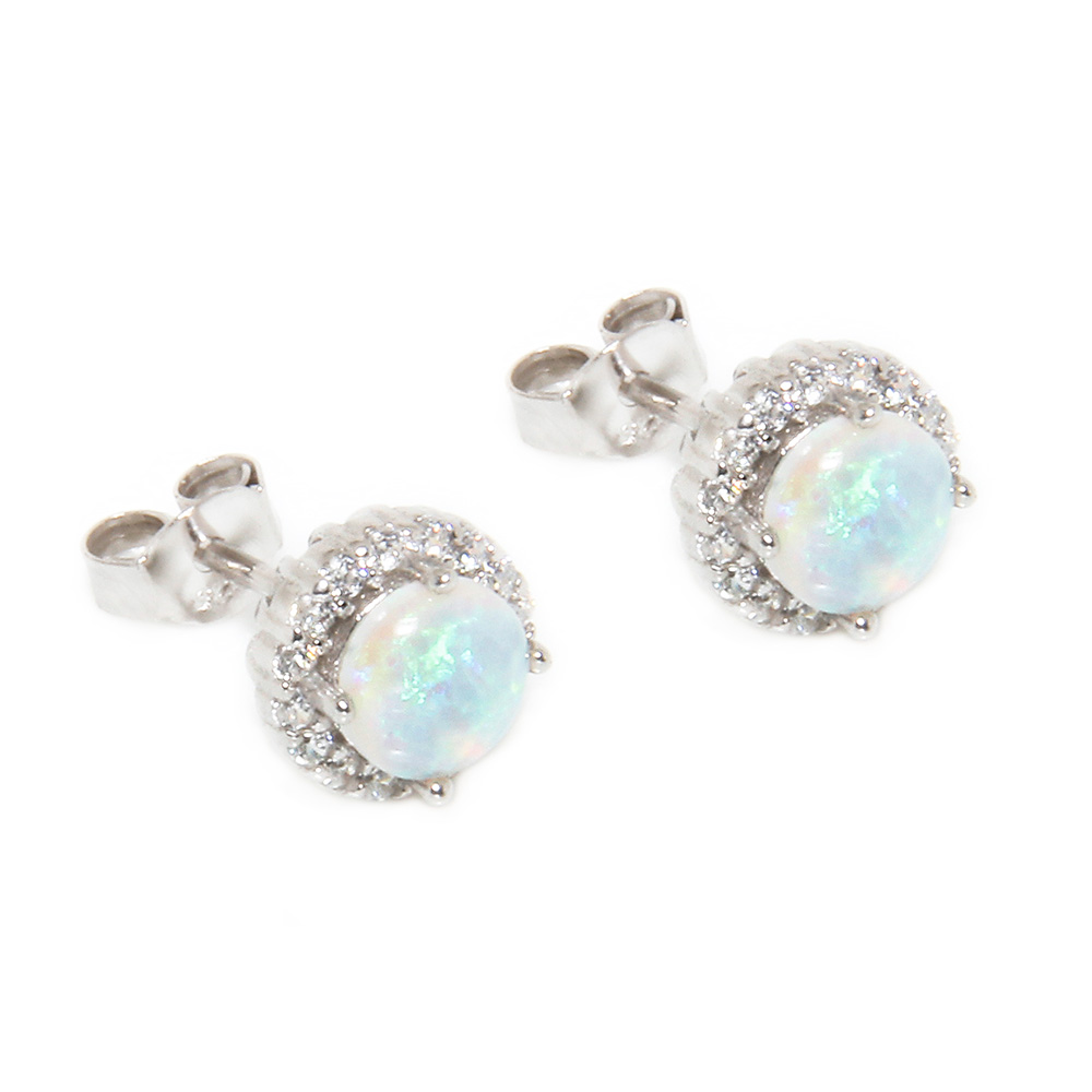 Top Sterling Silver Round CZ Opal Stud Earrings SSTE00963 ZS97