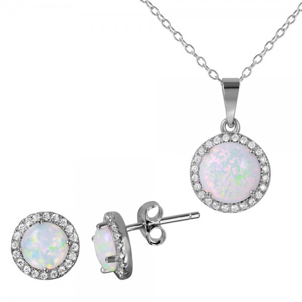 Sterling Silver Round Opal Halo Set SBGS00469
