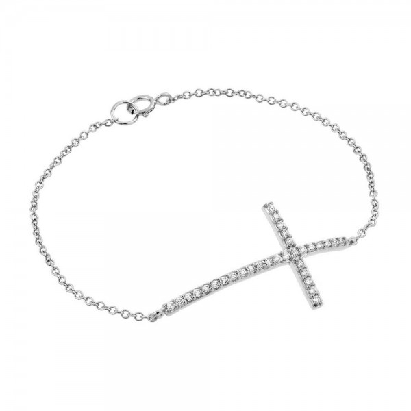 Sterling Silver Sideways Cross Bracelet SBGB00146